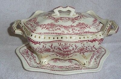 Stoke Pottery Alfred Shape Pink Floral Sauce Tureen With Stand  - Reg No. 150647