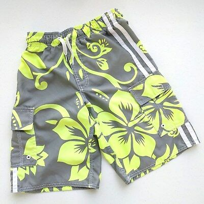 Old Navy Lightweight Boy's Board Shorts Floral on Dark Gray Size Large 10-12