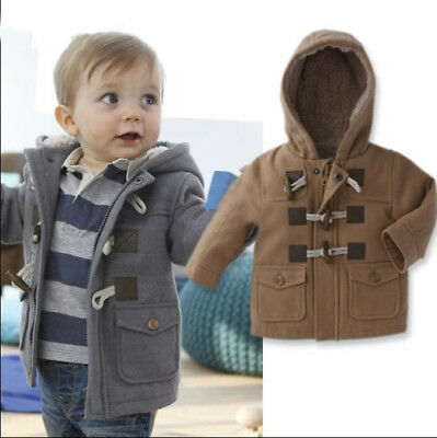 Baby Boy Kids Children Duffle Fleece Warm Hooded Coat Jacket BROWN 18 24 m
