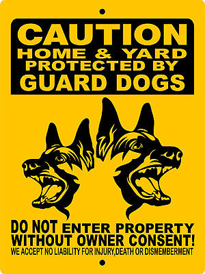 "GERMAN SHEPHERD  DOG SIGN,9""x12"" ALUMINUM SIGN,SECURITY,WARNING,H2496GUARDDOGS"