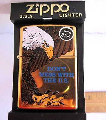 Retail $31.95: Eagle Don't Mess With The U.s. Zippo Lighter Brass New 2001 Rare!