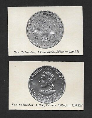 El Salvador Coin Card by Greiling Germany 1929-1911 1p Silver THIS IS NOT A COIN