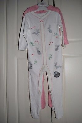 MARKS & SPENCER Baby Set of 2 Pink Mix Babygrows 18-24 months BRAND NEW