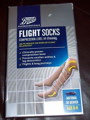 1 Pair Of Flight Socks By Boots Size 6-8