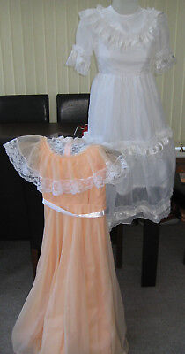 2 x vintage nylon dresses - white Pronuptia - peach made in Gt Britain - girls