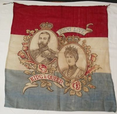 ANTIQUE 1911 KING GEORGE V & MARY CORONATION FLAG/BANNER 28 x 26