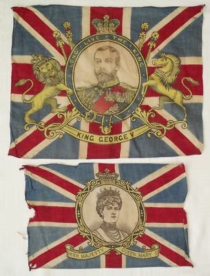 2 x ANTIQUE 1911 KING GEORGE V & MARY CORONATION FLAGS