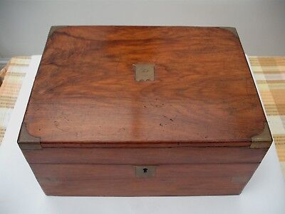 Antique Victorian walnut writing slope box with glass/brass ink pot c1897