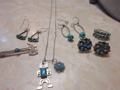 Vintage Lot Sterling Silver Turquoise Jewelry Earrings Necklace Pendants Ring