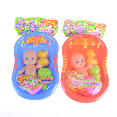 Baby Doll in Bath Tub With Shower Accessories Set Kids Pretend Role Play Toy  LE