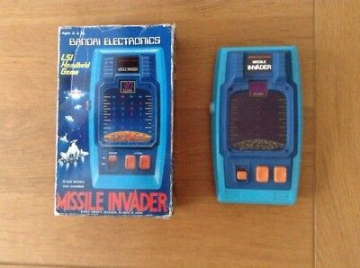 Bandai Electronics Missile Invader Handheld Game Boxed Vintage Retro