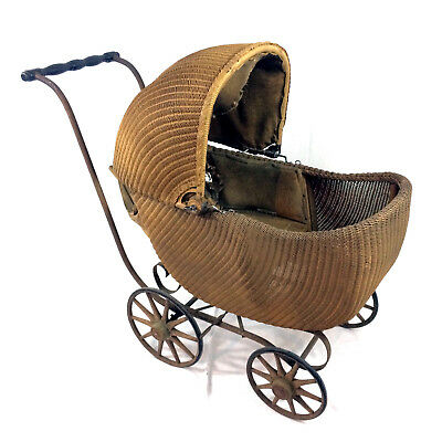 Antique Gendron Baby Carriage Wicker Stroller Buggy Early 20th Century 1900-1910