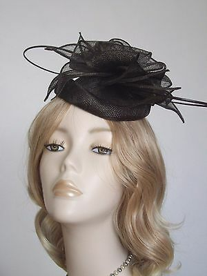 FAILSWORTH CHOCLATE BROWN SINAMAY PILLBOX  HATS, With quills,Brand new