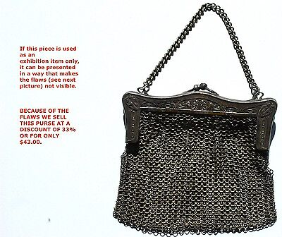 Art Deco Flapper Vintage Silver Stamped Chain Mesh Purse