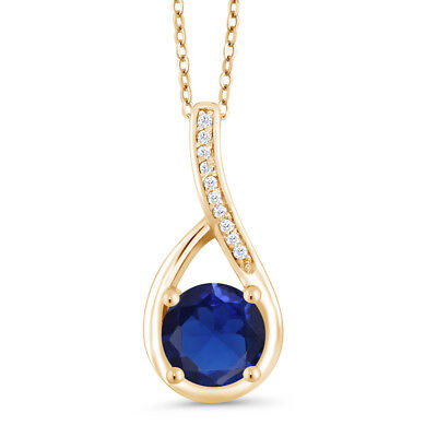 0.82 Ct Blue Simulated Sapphire & Diamond 18K Yellow Gold Plated Silver Pendant