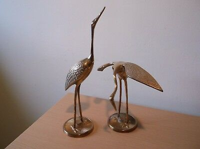2 Tall Brass Wading Birds