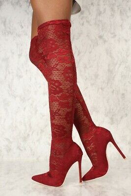 6a2602c5ee4b Cape Robbin Keira-2 Sexy Wine Embroider Lace Pointy Toe Thigh High Heel  Boots