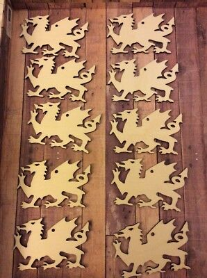 10 Wooden Hanging Welsh Dragon Decorations With Hole, Craft Shapes Pyrography