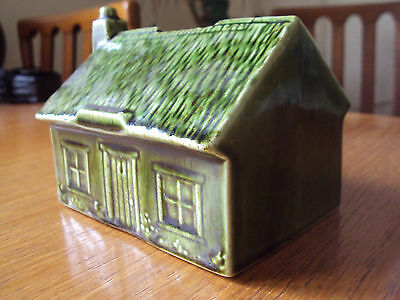 Vintage Holkham Pottery Thatched Cottage Money Box