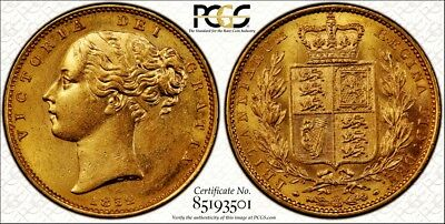 1852 Victoria Gold Sovereign Very Rare Mint State Example