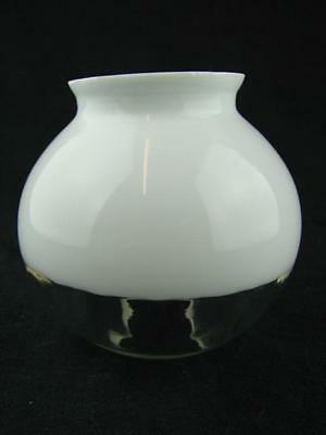 Small Oil Lamp Globe Shade, Opal & Clear Glass. Ribbed Decoration, 4.6Cm Fitter