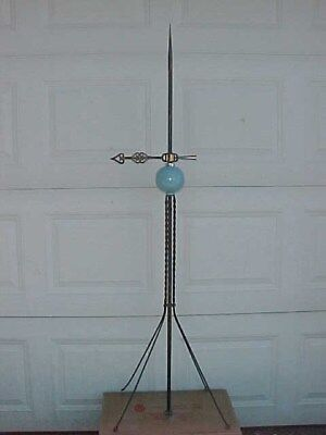 Lightning Rod,weathervane Arrow And Glass Ball