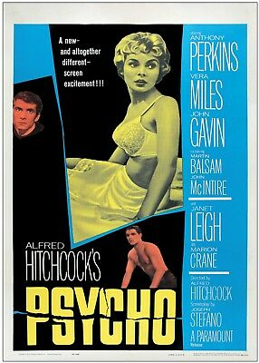 Psycho Alfred Hitchcock Vintage Movie Wall Art Large Poster Print A0 A1 A2 A3 A4