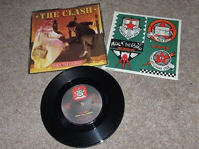 THE CLASH = ROCK THE CASBAH RARE ORIGINAL PICTURE SLEEVE 7in WITH STICKER SHEET