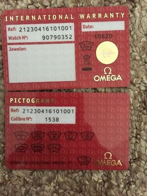 Omega International Warranty Card Watch No And Pictograms Card