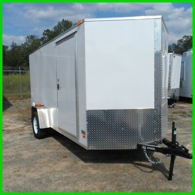 2016 Covered Wagon v nose 6x12 enclose cargo motorcycle trailer White New
