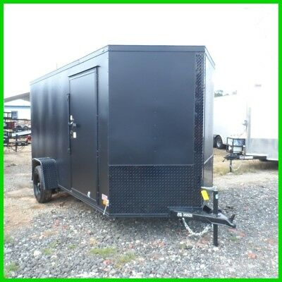 2016 Covered Wagon v nose 6x12 enclose cargo motorcycle trailer Flat Black New