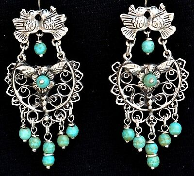 Mexican Taxco Jewelry 925 Sterling Silver Earrings Birds Turquoise Frida Kahlo
