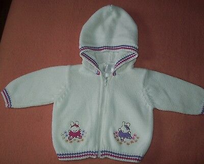 Unisex Infant's White Cotton Knit Hooded Sweater with Bunnies