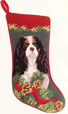 Tri Color Cavalier King Charles Spaniel Dog Needlepoint Christmas Stocking