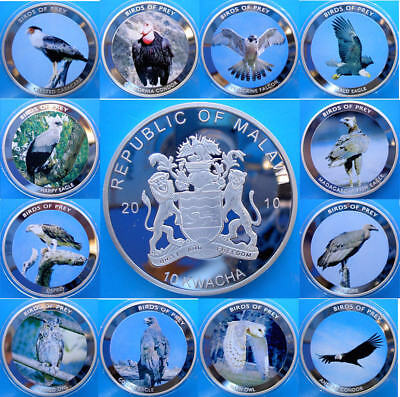 Malawi 12X10 Kwacha 2010 Proof Silver Plated Giant Coins Birds Of Prey Weight 49