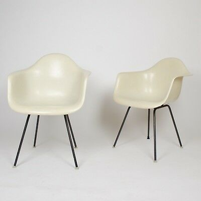 1950's Eames Herman Miller Ivory / White Fiberglass Shell Chairs Arm Shells 2x