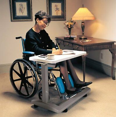 Hospital Bed Overbed Table Adjustable Over Wheelchair Tray Rolling Medical Chair