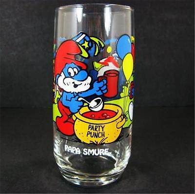 1983 Papa Smurf 16oz Ice Tea Glass Tumbler Peyo Wallace Berrie Hardee's