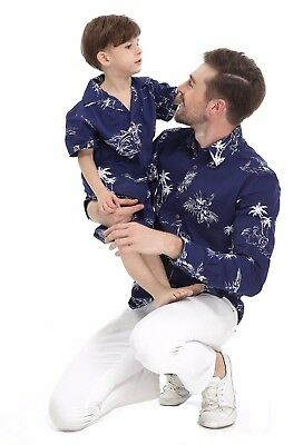 Father Son Matching Holiday Hawaiian Classic Navy Map Long Sleeve Shirts