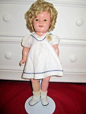 """Vintage Ideal Composition 1930's Shirley Temple Doll 18"""" w/ Stand"""
