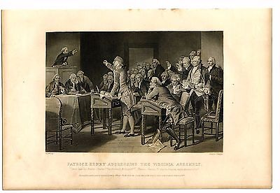 PATRICK HENRY ADDRESSING THE VIRGINIA ASSEMBLY, Revolutionary War, Engraving