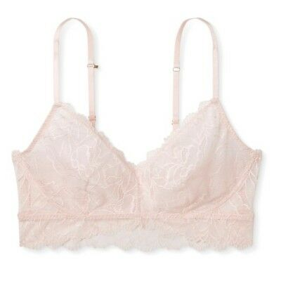 9cafd77e80442 Gilligan   O Malley Floral Lace Bralette Bra Size LARGE Crystal Pink NWT
