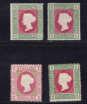HELIGOLAND STAMPS. QUEEN VICTORIA. 3x 6 SHILLING.1x 1 SHILLING. MH.