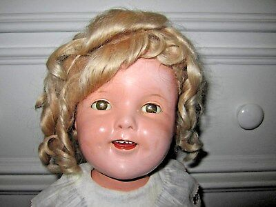 """Vintage Ideal Composition 1930's Shirley Temple Doll 20"""" w/ Stand"""