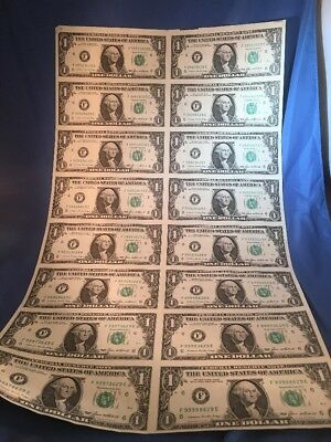 Uncut Sheet of Federal Reserve Notes HIGH Serial Number 16X$1 Dollar Bills 1985