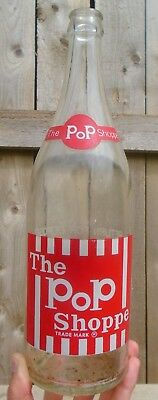 SCARCE 1976's VINTAGE THE POP SHOPPE (30 oz. / 850 ml) ACL SODA POP BOTTLE