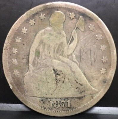 1871 Silver Seated Liberty Dollar $1 Motto US 90% Coinage Good Details