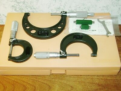 MITUTOYO 0-3 Inch MICROMETER SET SERIES 202 w/ CASE & STANDARDS
