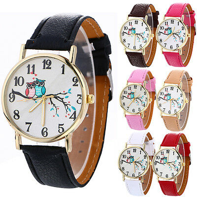 Cute Owl Pattern Classic Womens Men Fashion Leather Band Gold Dress Wrist Watch