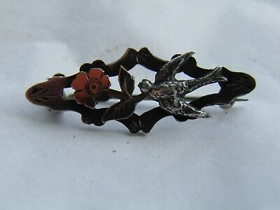 Vintage Sterling Silver & Gold Victorian swallow sweetheart Brooch